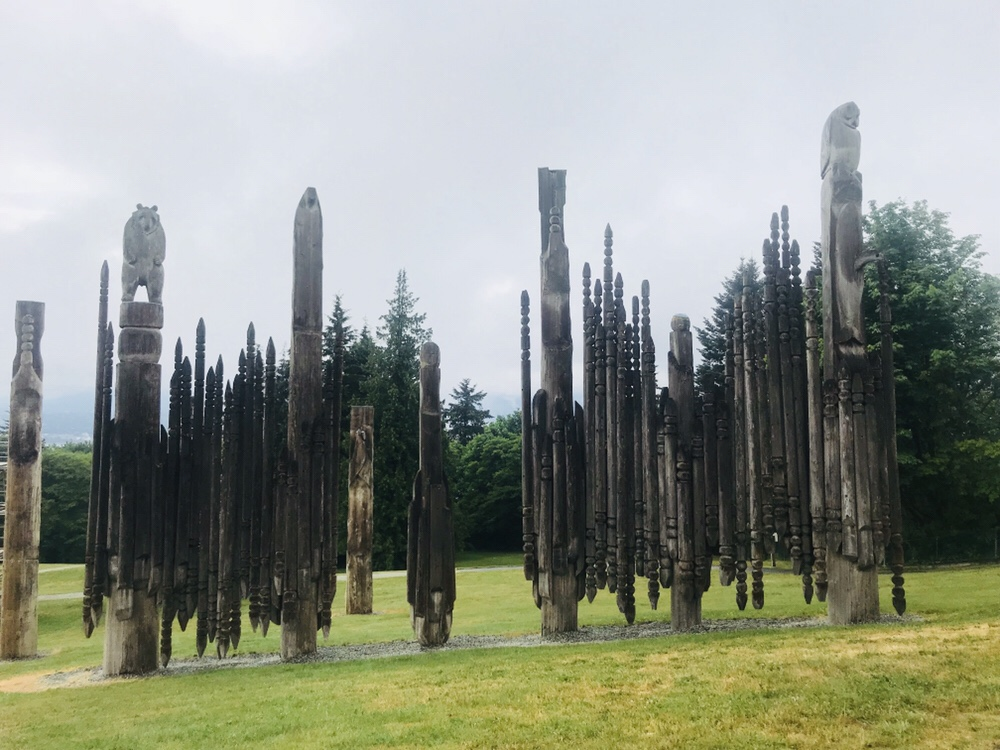 Totem poles, Burnaby Mountain